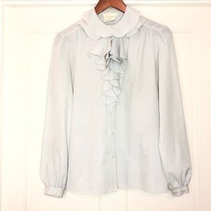 Vintage Tops - Vintage Ruffles Neck Long sleeve Button Down Top